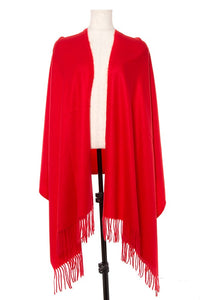Oblong solid fringe trim scarf - comfy-cozy18