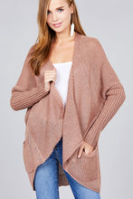 Load image into Gallery viewer, Long sleeve open drape knit sweater cardigan w/ pocket - comfy-cozy18