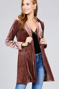 Long sleeve open front rounded lapel solid velvet long jacket - comfy-cozy18