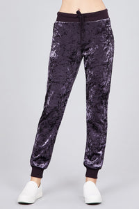 Waist contrast band w/drawstring ice velvet pants - comfy-cozy18