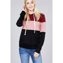 Load image into Gallery viewer, Long sleeve hoodie front kangaroo pocket color block pattern brushed french terry top - comfy-cozy18