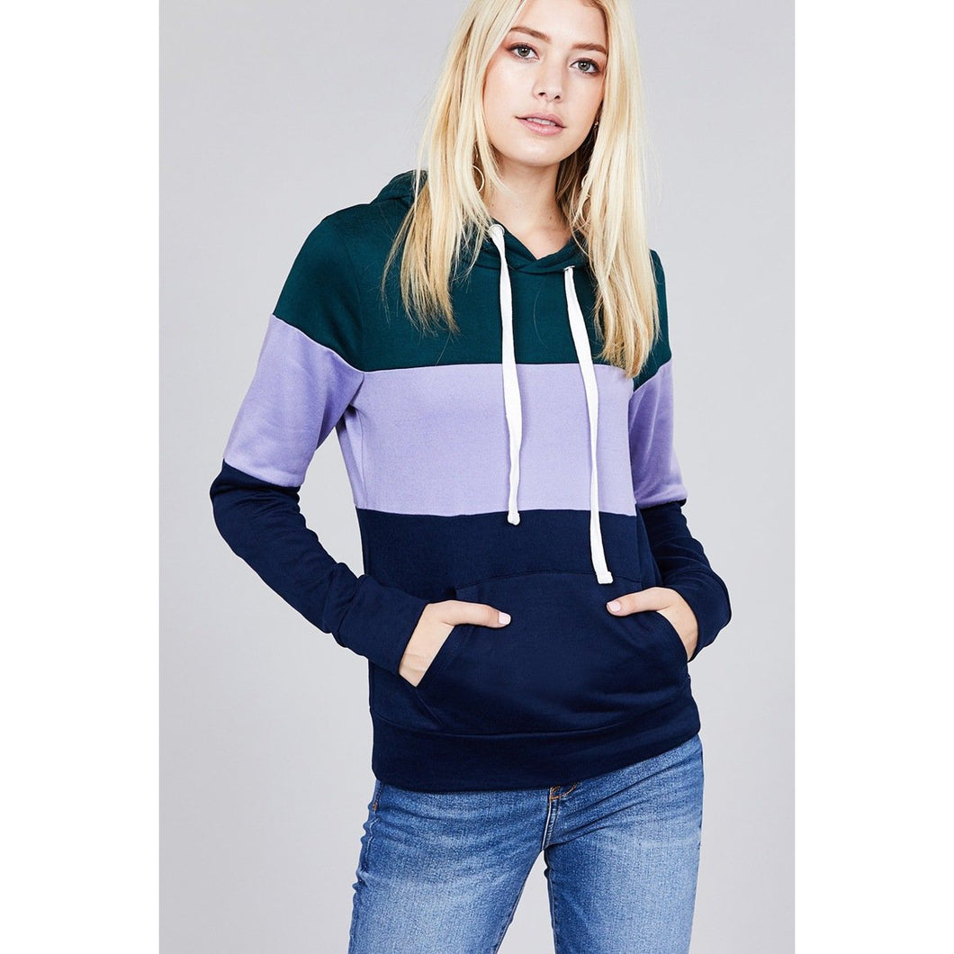 Long sleeve hoodie front kangaroo pocket color block pattern brushed french terry top - comfy-cozy18