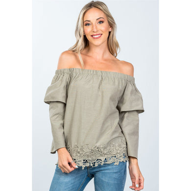 Boho off the shoulder crochet hem top - comfy-cozy18
