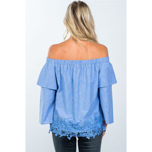 Load image into Gallery viewer, Boho off the shoulder crochet hem top - comfy-cozy18