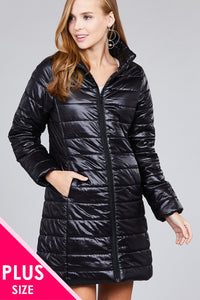 Ladies fashion plus size long sleeve quilted long padding jacket - comfy-cozy18