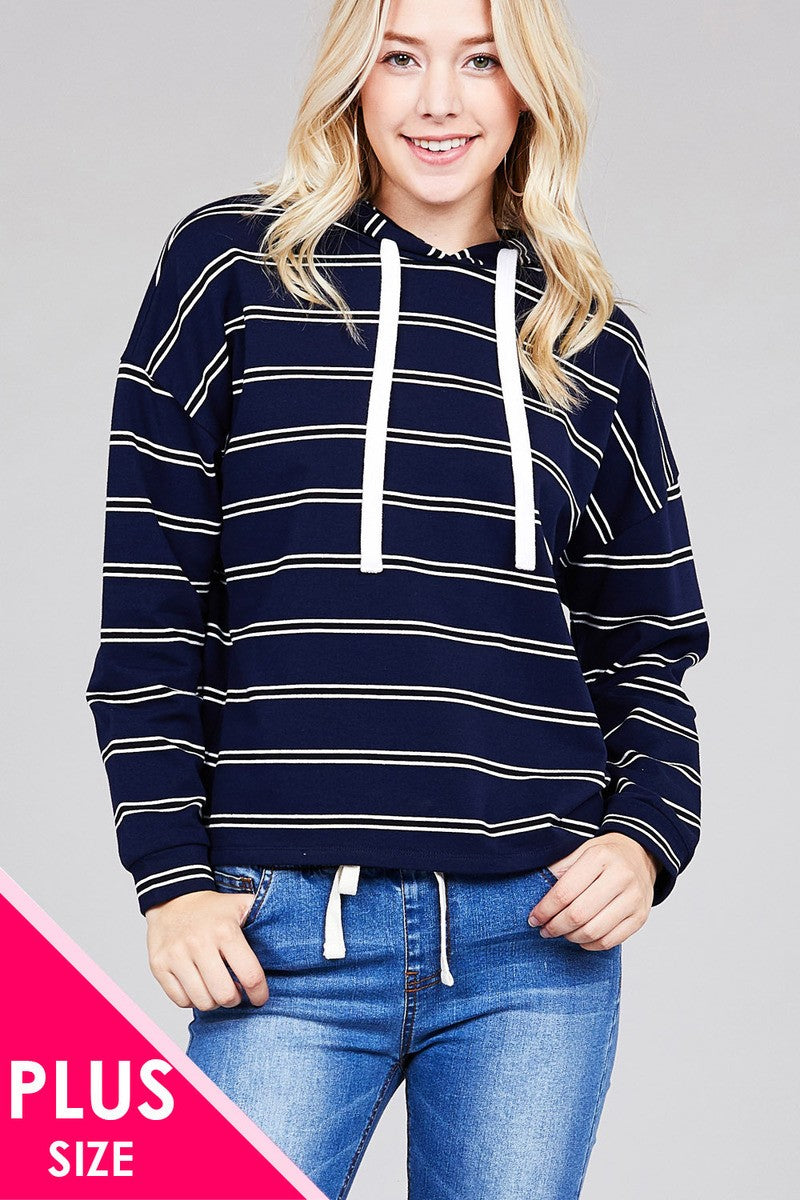 Ladies fashion plus size long sleeve hoodie w/drawstring stripe french terry top - comfy-cozy18