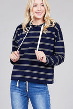 Load image into Gallery viewer, Ladies fashion plus size long sleeve hoodie w/drawstring stripe french terry top - comfy-cozy18