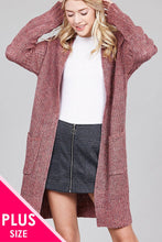 Load image into Gallery viewer, Ladies fashion plus size dolmen sleeve open front w/patch pocket marled sweater cardigan