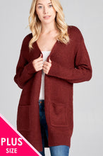 Load image into Gallery viewer, Ladies fashion plus size long sleeve open front w/pocket tunic sweater cardigan