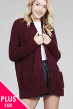 Load image into Gallery viewer, Ladies plus size dolmen sweater cardigan