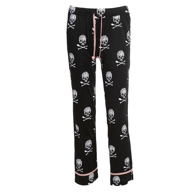 Skull Printed Pajama Pants Available in Black and White - comfy-cozy18