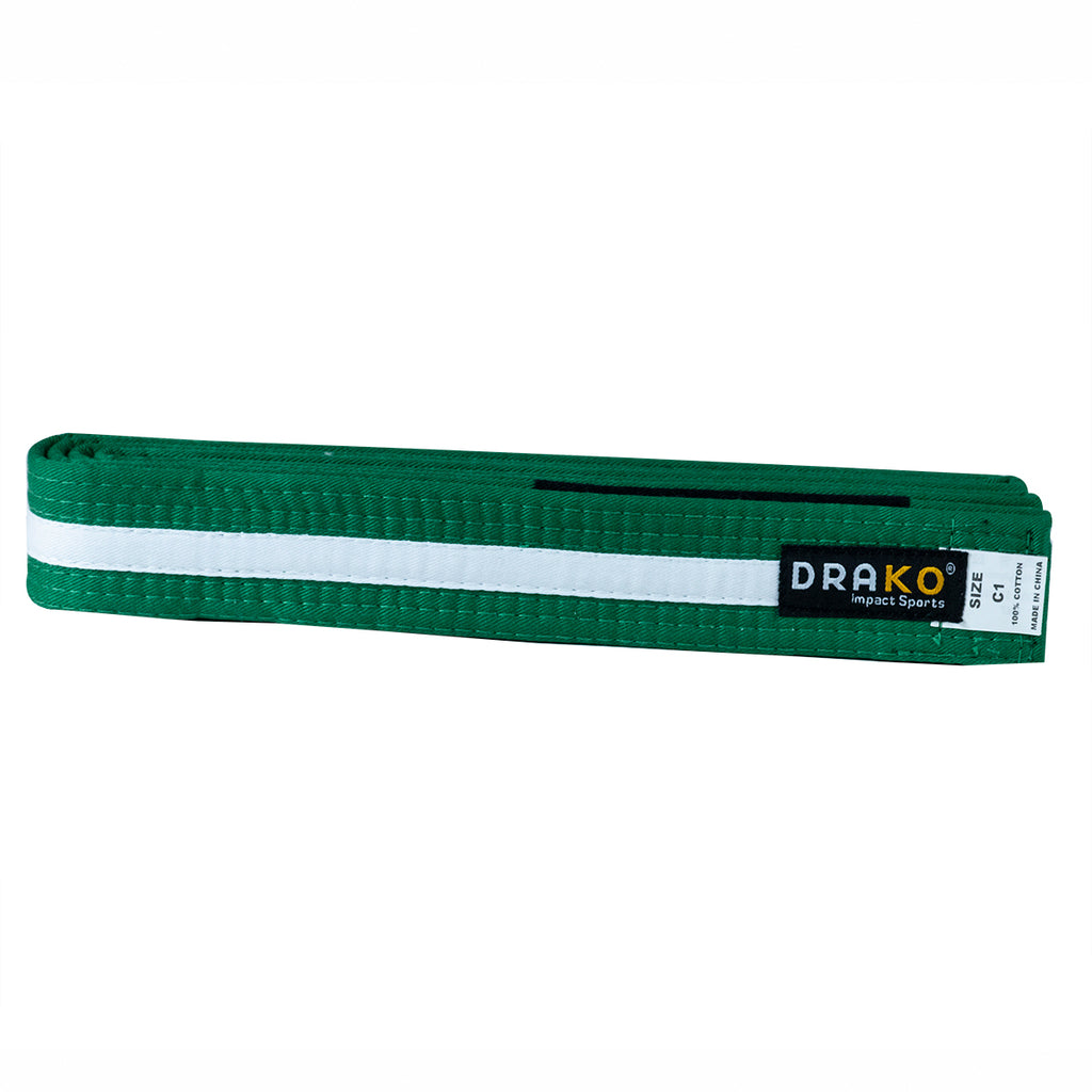 DRAKO YOUTH WHITE STRIPE BJJ BELTS