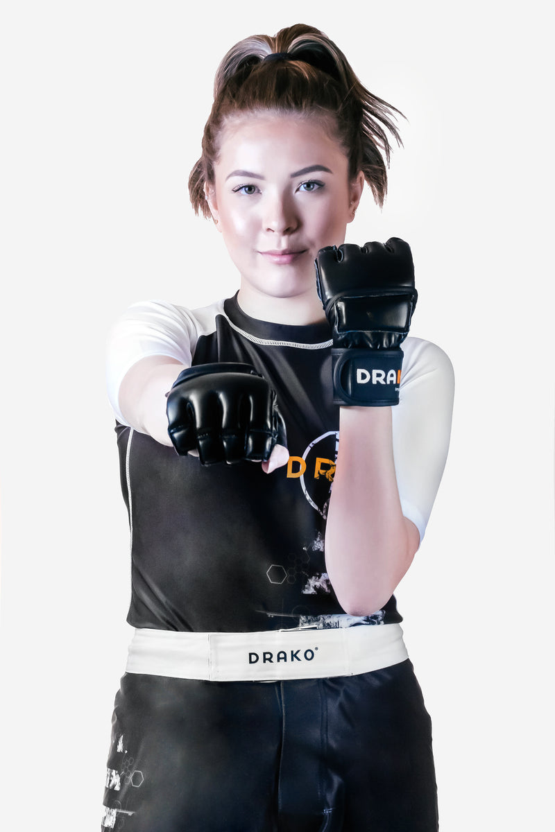 DRAKO WRISTWRAP GRAPPLING LEATHER GLOVES