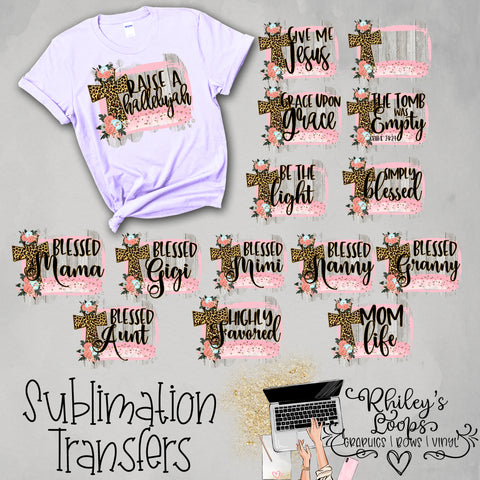 Raise A Hallelulah / Christian Phrases / Cheetah Cross Sublimation Transfers DIGITAL DOWNLOAD BUNDLE DEAL!