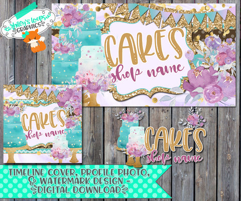 CAKES - WATERCOLOR BUSINESS LOGO SET FOR FACEBOOK