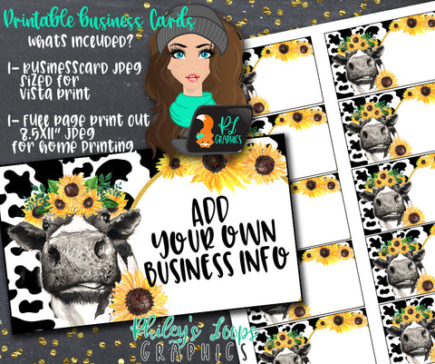 COW & SUNFLOWERS -BLANK BUSINESS CARDS