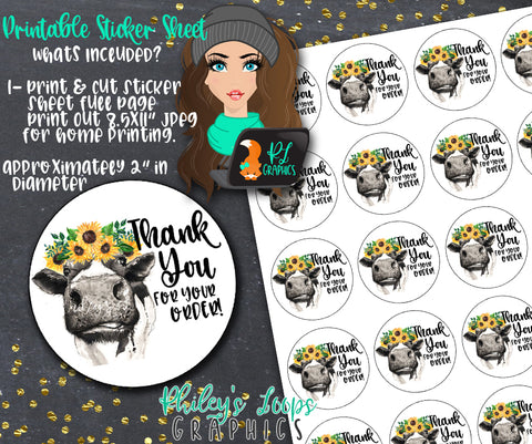 COW & SUNFLOWERS - Thank You For Your Order Printable Stickers Sheet - PRINT & CUT