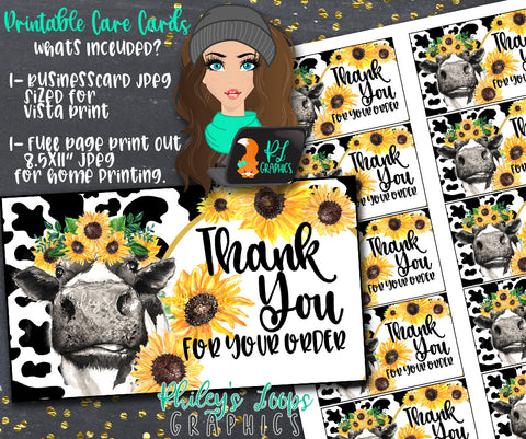 COW & SUNFLOWERS CARE CARD/REDEMPTION CARD/THANK YOU CARD/BUSINESS CARD BUNDLE