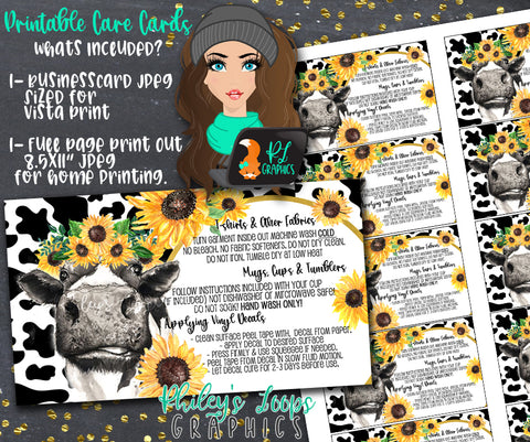 COW & SUNFLOWERS - Vinyl Care Instructions Printable Cards