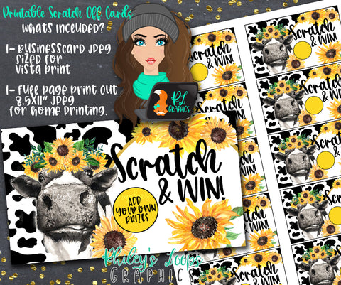 COW & SUNFLOWERS - SCRATCH OFF CARDS - LOYALTY REDEMPTION CARDS