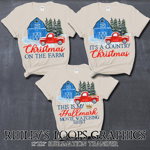 Christmas Barn Sublimation Digital Download Transfers Pack