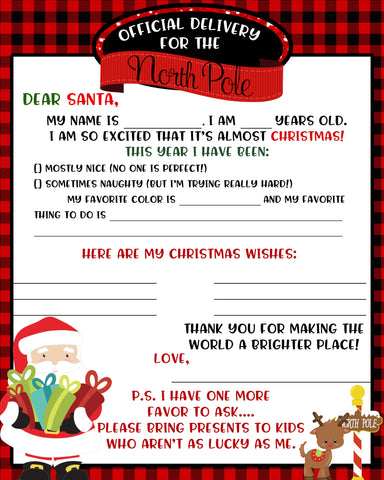 Dear Santa Letter Free Download 8x10 Printable