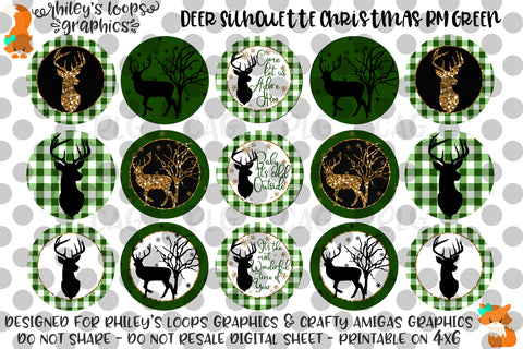 Deer Silhouette Christmas Ribbon Matching Green