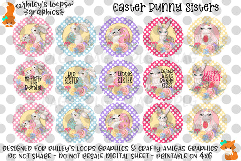 Easter Bunny Sisters Bottle Cap Images