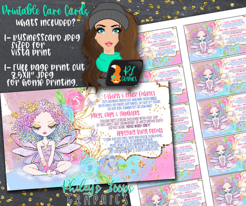 FAIRY TALE FAIRY - BUSINESS GRAPHICS CARDS - VINYL CARE INSTRUCTION CARDS