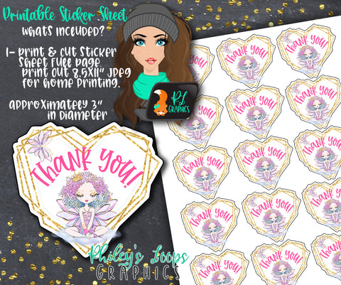 FAIRY TALE FAIRY - BUSINESS GRAPHICS CARDS - THANK YOU STICKERS - PRINT & CUT