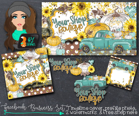 Fall Pumpkin Truck Social Media Business Set Package - Facebook Edition