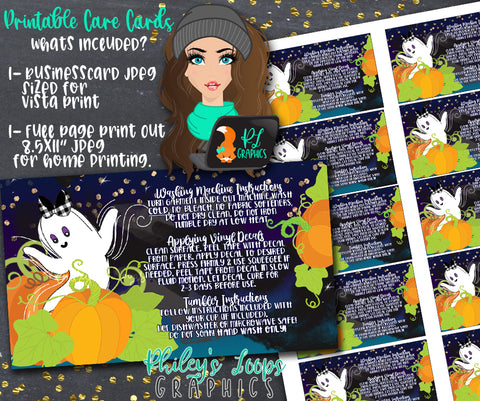 GHOST PUMPKINS - BUSINESS GRAPHICS CARDS - VINYL CARE INSTRUCTION CARDS
