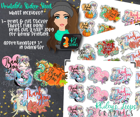 Mermaid Thank You Sticker Sheets - 3 PACK - Seasonal - Print & Cut Stickers