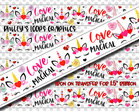 "Unicorn Faces - Valentine's Day - Ribbon Transfer (1.5"" Width Ribbon)"