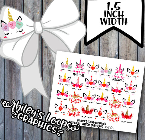 "UNICORN FACES - VALENTINES - BOW TAILS (1.5"" Width Ribbon)"