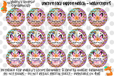 Unicorn Faces Ribbon Match - Watercolors