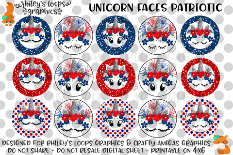 Unicorn Faces 4th Of July Patriotic