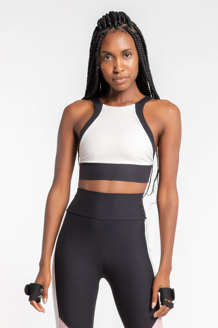Mix Block Halter Sports Bra