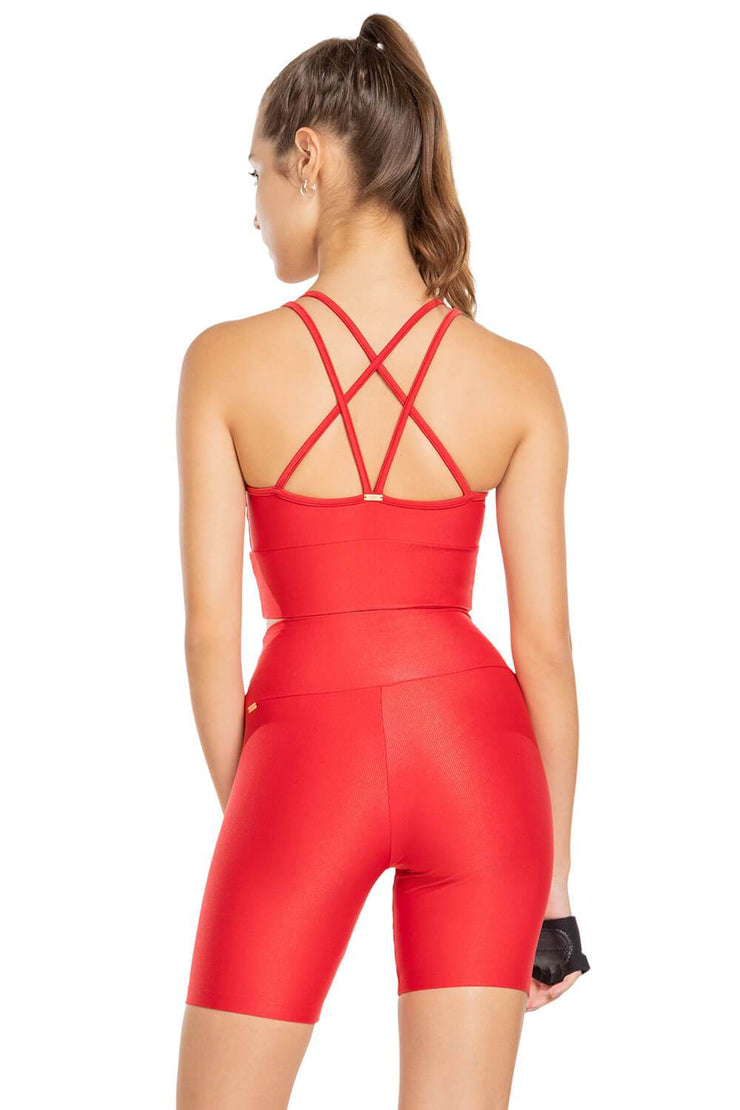 Strappy Glassy Top Red