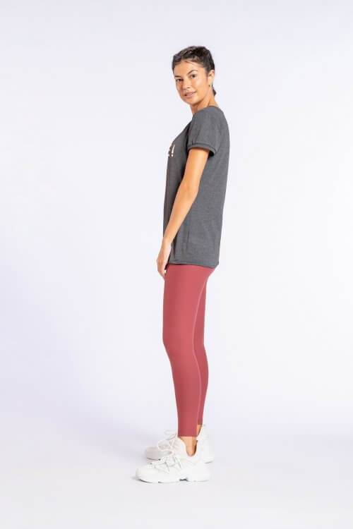 Leggings Desportivas Femininas Cintura Super Subida Bordô
