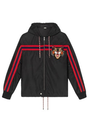 Gucci Nylon windbreaker with angry cat appliqué - Munazul