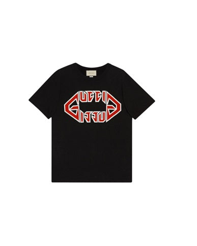 Gucci Print t shirt with pressed logo