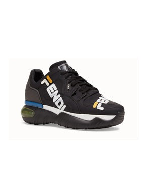 Fendi black nappa leather low tops