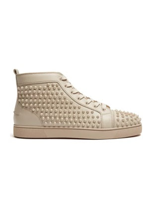 Lou spike embellished beige high top trainers. - Munazul