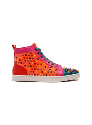 Lou spike-embellished multicolour print high-top trainers