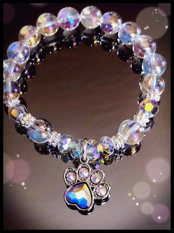 Angel Aura Quartz Dog Paw Bracelet/ Inspirational Swarovski Jewelry/ Dog Mom/in Your Heart