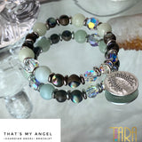 That's My Angel | Green Aragonite & Paqua Shell Bracelet | Guardian Angel Jewelry | Christmas Gift for Her | Inspirational Swarovski Jewelry