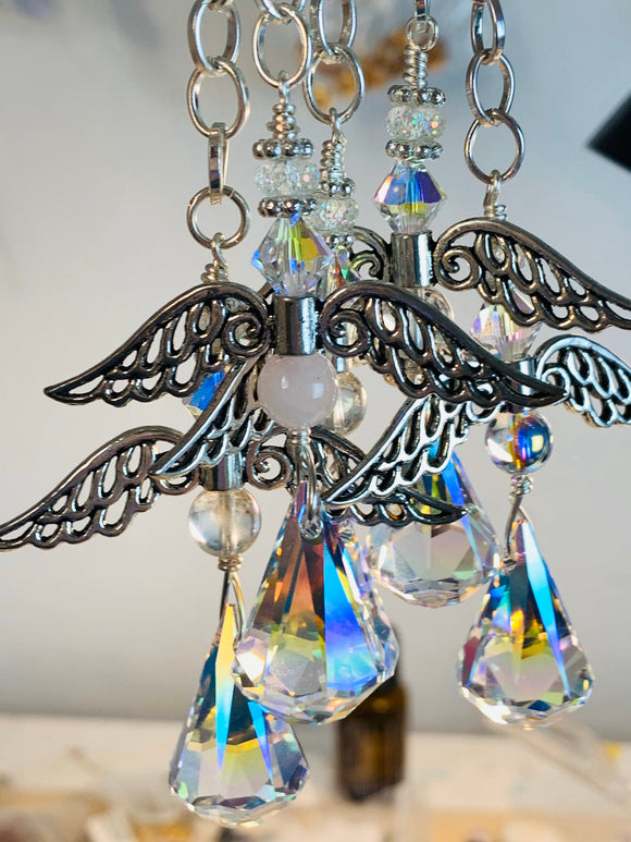 Guardian Angel Car Mirror Charm | Swarovski Crystal Car Charm Bundle of 3