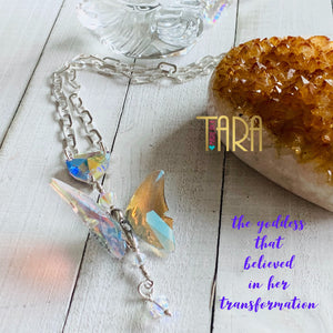 The Goddess that Believed in Her Transformation | Inspirational Swarovski Crystal Necklace | Silver Necklace | Butterfly Necklace