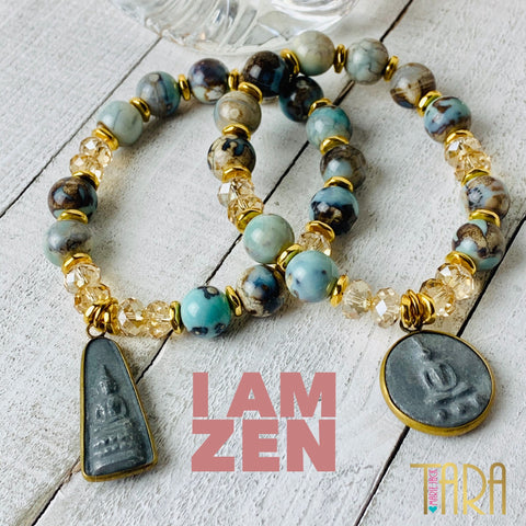 Robin's Egg Blue Agate Mala Bracelet/Buddha Jewelry/Inspirational Swarovski Jewelry/Chistmas gift for her/Affirmation Jewelry - I Am Zen